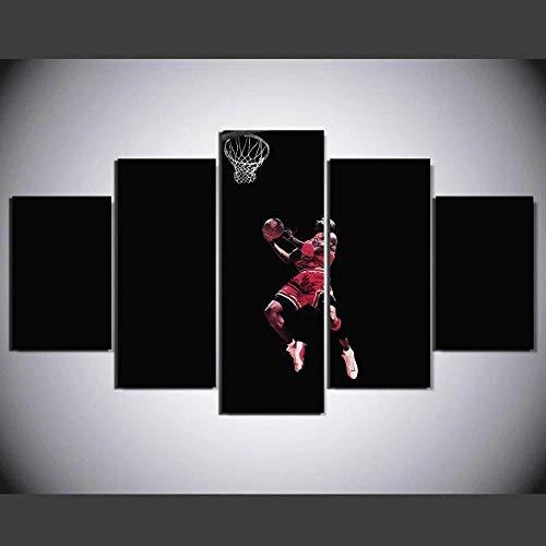 EMAIENA Cuadros Decoracion 5 Piezas Cuadros Decoracion Salon Modernos Grandes Dormitorios XXL Impresión Pintura Arte, Michael Jordan Dunking Celebridad (Marco) - 150x100 cm