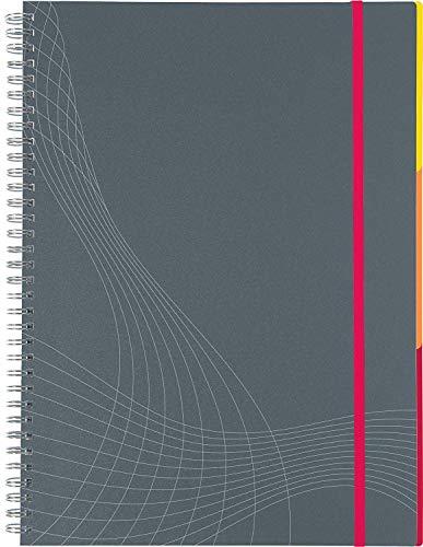 AVERY Zweckform 7015 Notizbuch notizio (A5, Kunststoff-Cover, Doppelspirale, kariert, 90 g/m², 90 Seiten mikroperforiert, Notizblock mit Verschlussband, Registern und Dokumententasche) grau