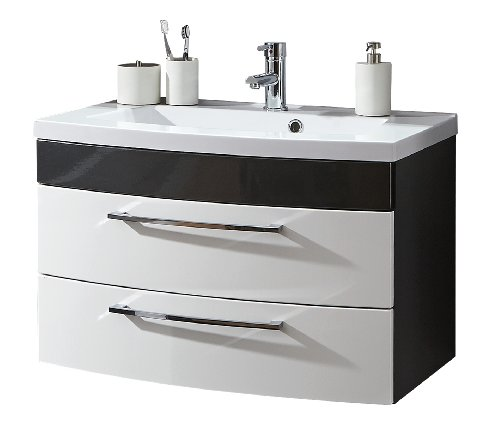 Posseik 5869-99 Waschplatz Rima 80 cm, Schwarz/Weiß