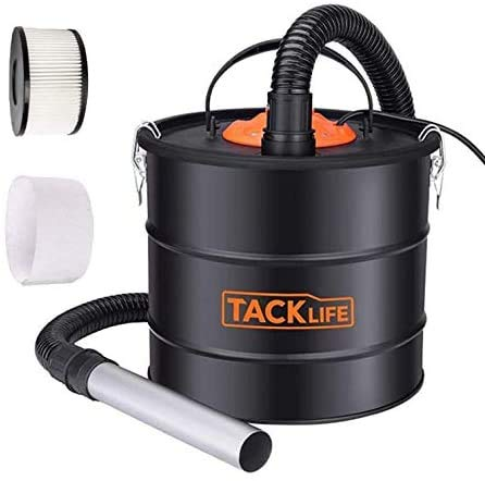 TACKLIFE Ash Vacuum, 5 Gallon 800W Fireplace Vacuum with Blow Function, 1.2M Metal Hose, 5M Power Cable, Suitable for Fireplace, Log Burners, Pellet Stoves