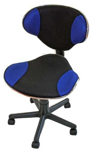 Mendler Poltrona ufficio classica Genova ergonomica 45x40x79-90cm ~ blu