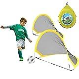 RUIZHUO Mini red portátil de fútbol para entrenamiento de fútbol para niños juguetes para niños regalos de jardín interiores y exteriores con 2 piezas bolas bomba clavijas y bolsa transporte plegable