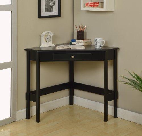 Kings Brand Furniture Wood Corner Desk with Drawer (White)
