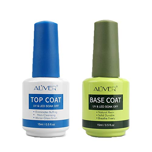 Base Coat Top Coat UV LED Gel Nagellack Gellack Unterlack & Überlack Set Nägel Maniküre Kit 2 x15ml