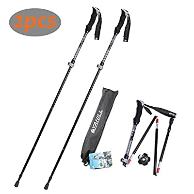 Yahill On Sale!!! 1pc Folding Trekking Pole Collapsible Stick Ultralight Adjustable, Alpenstocks with EVA Foam Handle, for Travel Hiking Camping Climbing Backpacking Walking