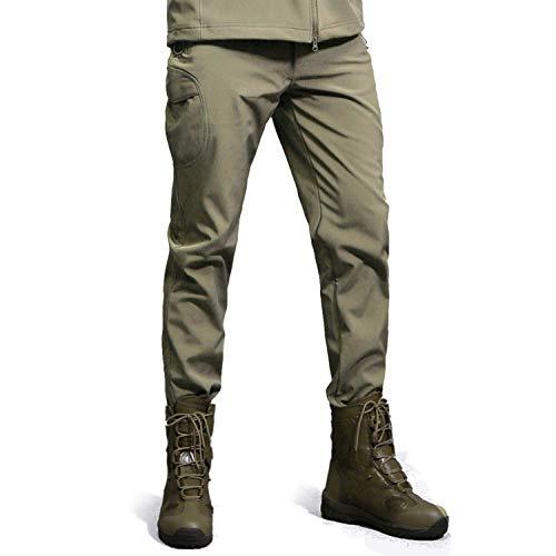 BIAOZH - Pantalones de Hombre para Hombre, Impermeables, Resistentes al Viento, para Caza, Senderismo, Caminar, con Forro Polar, Hombre, Color Verde, tamaño M