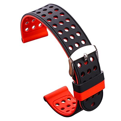 Correa Reloj Silicona Correa de Banda de Reloj de Goma de Silicona Deportes Pulsera Transpirable para Mujeres Hombres Relojes brazaletes 18 20 22 24mm Correa Reloj (Band Color : Black and Red)