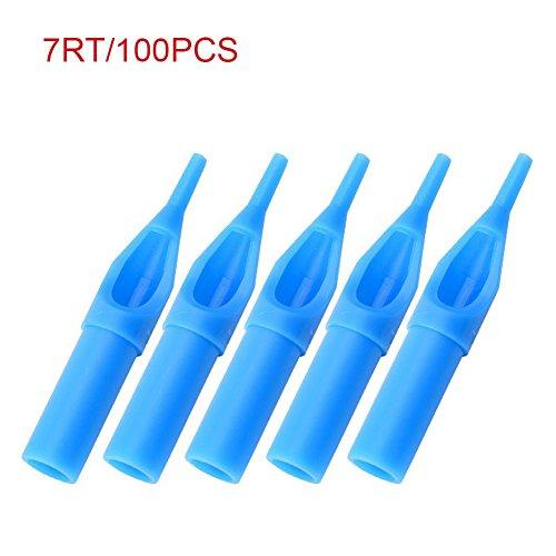 lzndeal 100pcs Tatuaje boquillas Desechables Consejos plástico Agujas Azules Astuce 3–11rt 3–11dt 5–13ft, 7RT