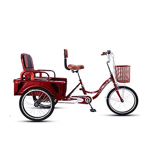 Triciclo per Adulti 20 Pollici Adulto Triciclo Pieghevole Sedile Adulto Bicicletta con Carrello 3 Ruote Cruiser Bike per I Genitori per Ritirare E Rilasciare I Bambini Load 250kg(Color:Un)