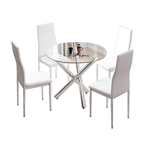 JE Dining Table and Chairs Set of 4, High Back PU Leather Chair with Glass Chrome Leg Table,White