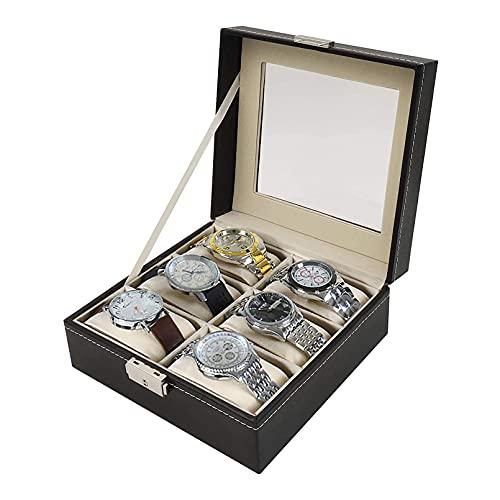 Organizador de Caja de Reloj de 6 Ranuras Estuche de exhibición de Reloj de Cuero PU para Hombres y Mujeres Caja de Almacenamiento de Reloj con cojín extraíble para Guardar Joyas