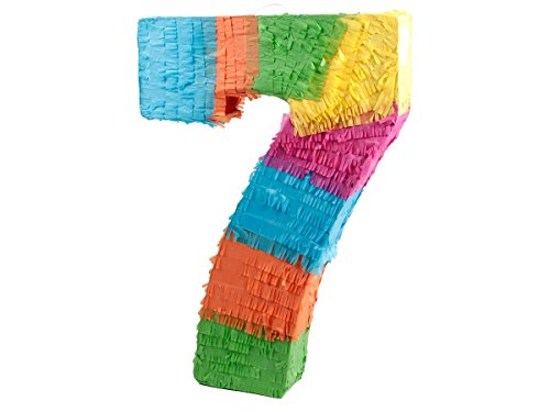 Alsino Pentolaccia Pignatta Multicolore A Forma del Numero 7 Cifra per Festa di Compleanno Divertimento Bambini