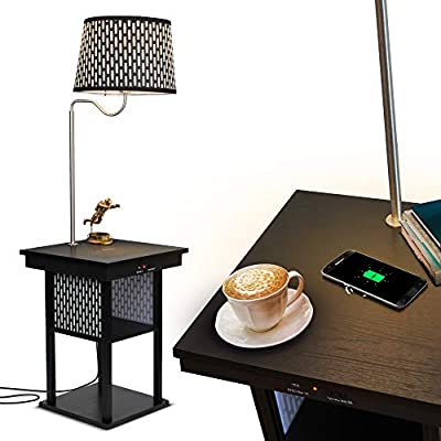 Brightech - Madison LED Floor lamp with Wireless Charging Pad & USB Port, Shelves & Bedside Table Nighstand with Lamp Attached - Mid Century Modern End Table for Living Rooms