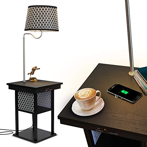 Brightech - Madison LED Floor lamp with Wireless Charging Pad & USB Port, Shelves & Bedside Table Nighstand with Lamp attached - Mid Century Modern...