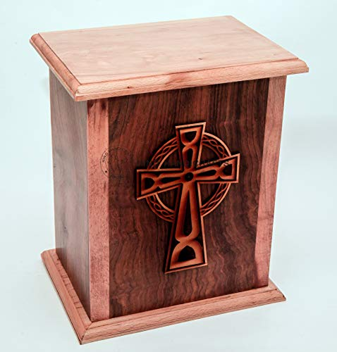 Hind Handicrafts Engraved Wooden Cremation Urns for Human Ashes Adult Large, Rosewood Wooden Box Funeral Urns for Human Ashes (10' x 8.5' x 6.5' - 250 lbs or 113 kg, Celtic Cross 1)