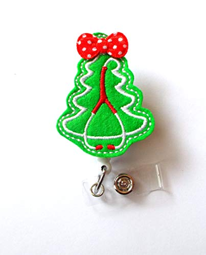 Stethoscope Christmas Tree with Bow - May Select Alligator Swivel or Belt Slide Clip - Felt Applique That Sits on a White Hard Plastic Badge Reel - Perfect Stocking Stuffer (Alligator Swivel Clip)