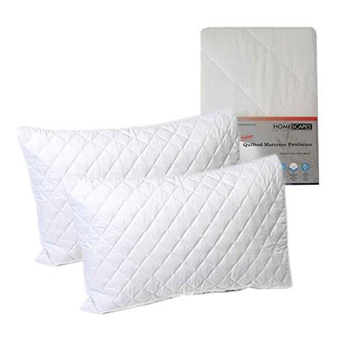 petit un compact Homescapes Paire de protège-oreillers matelassés Linge de lit Protection anti-allergique Très bon rapport qualité / prix