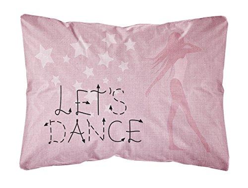 """Carolines Treasures BB5375PW1216 Deko-Kissen mit Aufschrift """"Let's Dance"""", Leinen, Pink, 30,5 x 40,6 cm, Mehrfarbig"""