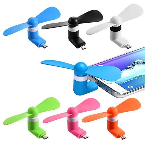 Funmo - Mini USB Ventilador, USB Ventiladores de teléfono, Mini USB Fans de teléfono portátil, Mini portátil Tipo-C Ventilador de teléfono (6 Piezas)