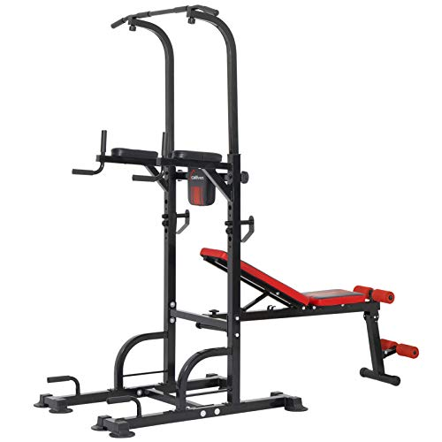 ER KANG Power Tower Dip Station, 800lbs Weight Capacity Workout Station with Adjustable Weight/Sit-Up Bench, Dip Stands, Pull Up Chin Up Tower for...