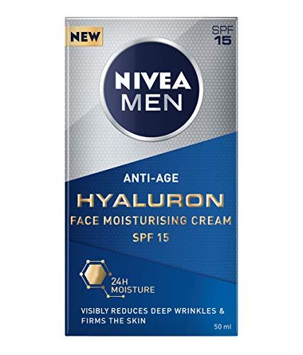 NIVEA MEN Hyaluron Gesichtscreme (50 ml), Anti Falten Gesichtscreme reduziert tiefe Falten, Herren Anti Aging Gesichtscreme, Anti Falten Creme stärkt die Hautelastizität