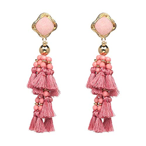 ZHJC Tassels Dangle Drop Earrings Lady Fringed Earrings Women Tassel Drop Dangle Earrings For Beach Party 4 Colors To Choose From Wedding, Date (Color : Pink, Size : Free size)