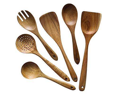 Küchenhelfer-Set aus Akazienholz, 6 Stück Küchenutensilien Set aus Holz (Akazie), Japanischer Stil, Kratzfest und Hitzebeständig, Kochlöffel Holz Set für Antihaft-Pfannen
