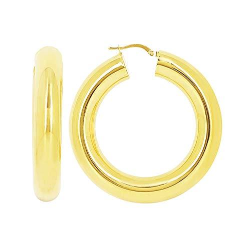 Pendientes de aro de oro amarillo de 18 quilates, diámetro 30 mm, grosor 8 mm
