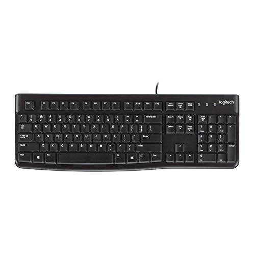 Logitech K120 Teclado con Cable Business para Windows, Tamaño Normal, Resistante a Líquido, Barra Espaciadora Curvada, PC/Portátil, Disposición QWERTY US, color Negro