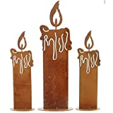 SIDCO Kerze Edelrost 3 x Rostoptik Kerzen rustikal Kerzenset Rostdeko Garten Deko