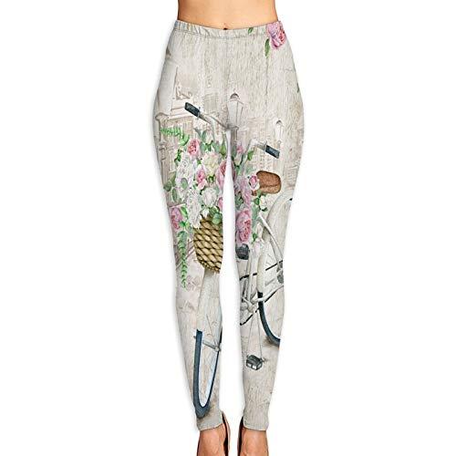 Pantalones de Yoga para Mujer,Cesta de Flores Hermosa Bicicleta Blanca Acuarela,Pantalones de Entrenamiento de Cintura Alta Medias elásticas de Yoga Impresas M