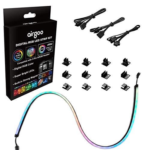 NEON Addressable RGB LED Strip for PC, Airgoo 1x31.5inch WS2812B RGBIC Rainbow Magnetic ARGB Strip for Aura SYNC, Gigabyte RGB Fusion, MSI Mystic Light Sync, with 12pcs Strong Magnetic Brackets
