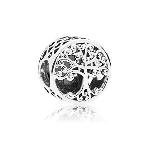 LafeeJewels Charm Albero della Famiglia,bracciali Pandora,Oro 18 ct Zirconia Cubic Argento 925 (Famiglia, Argento)