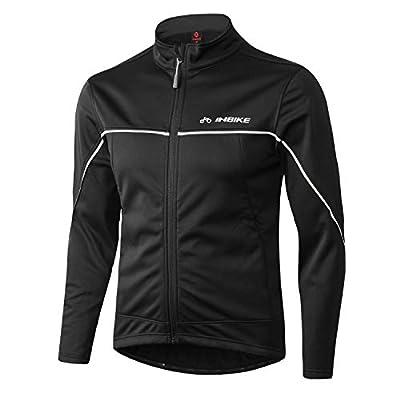 INBIKE Men's Cycling Jacket, Winter Fleece Thermal Windproof Soft Shell Wind Coat (XXL, TJJ) Black