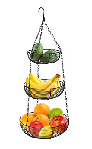 CAXXA 3-Tier Hanging Basket Fruit Organizer Kitchen Heavy Duty Wire Organizer with 2 Free Bonus Metal Ceiling Hooks, Black
