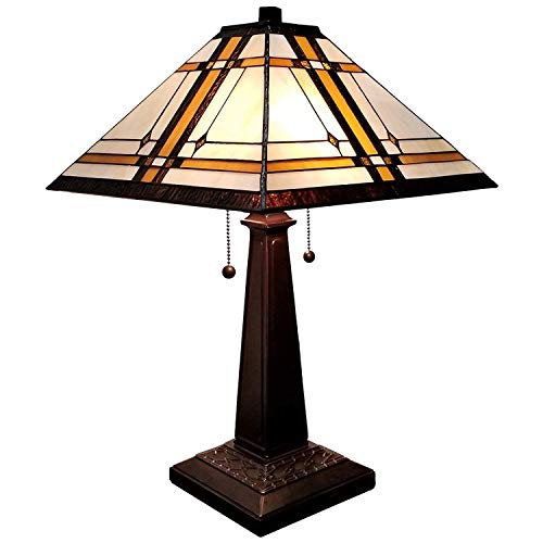 Amora Lighting Tiffany Style Table Lamp Banker Mission 22″ Tall Stained Glass White Tan Brown Antique Vintage Light Decor Nightstand Living Room Bedroom Handmade Gift AM1053TL14, 14inch Diameter