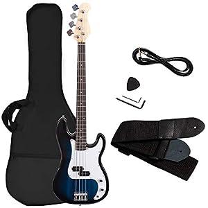 COSTWAY Bassgitarre mit 4 Saiten, E-Gitarre, Elektrogitarre, E-Bass, E-Bass-Gitarre mit Gitarrentasche, Gurt, Plektrum, Verstärkerkabel, 2 Tonabnehmer und Klangregler, ideal für Anfänger (Blau)