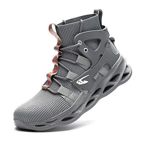 JUDBF Botas de Seguridad para Hombre Mujer con Punta de Acero Zapatillas de Trabajo Ligeras Transpirables Calzado de Seguridad Deportivo799Grey/43