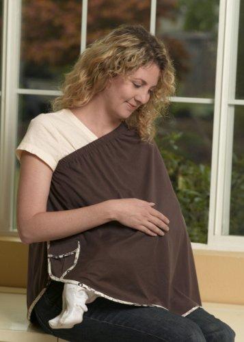 Buy Discount ORGANIC NursEase Breastfeeding Shawl- Organic Large Brown with Floral Trim