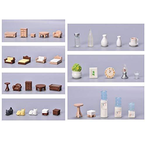 SWEETWU - Taburete de mesa en miniatura, decoración de paisaje, decoración con tecnología de resina, accesorios de decoración en miniatura para casa de muñecas y adornos de Navidad blancos