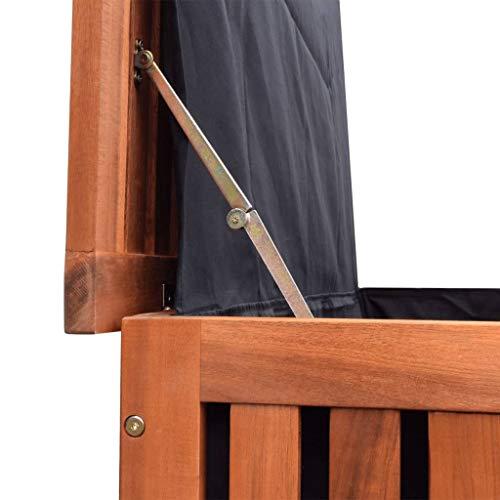vidaXL 41772 Aufbewahrungsbox Gartentruhe Gartenbox Kissenbox + Räder Holz 118x52x58cm, One Size - 5