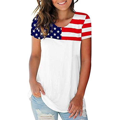 SAFTYBAY Camisetas femininas com bandeira americana Plus Size listras estrelas dos EUA 4 de julho estampa patriótica camiseta manga curta (H9763-28, 2GG)