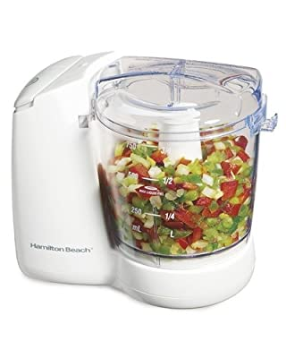 Hamilton Beach 72600 Corded Food Chopper, 135 W, 3 Cup, Stainless Steel, White
