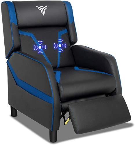 ELECWISH Single Ergonomic Lounge Sofa Massage Gaming Recliner Chair with Footrest Racing Style Modern PU Leather Reclining Home Theater Seat for Living & Gaming Room (Blue)