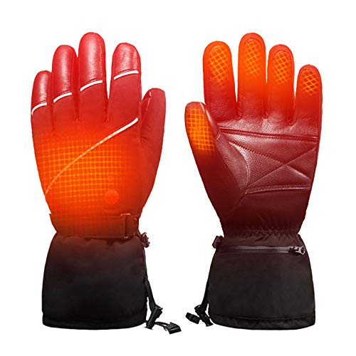 JFF Beheizte Handschuhe Für Männer Frauen, Elektro-Skimotorrad Snow Mitten Glove Arthritis Elektrische Skihandschuhe Bergsteigen Angeln,M