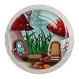 Juego de 4 pomos redondos para armarios de cocina, diseño de hormigas en casa de setas