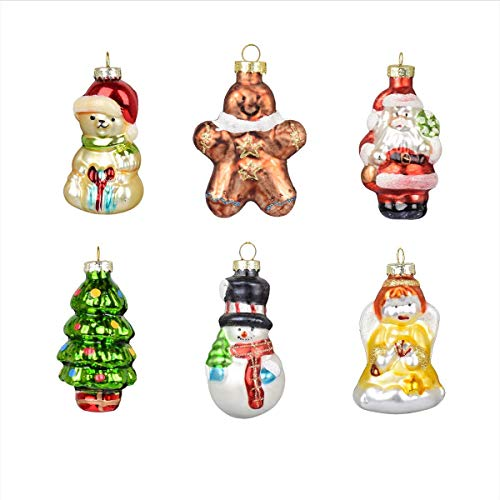 Painted Glass Christmas Figurines Set of 6 Christmas Baubles Miniature Ornament Tree Decorations (Style A)