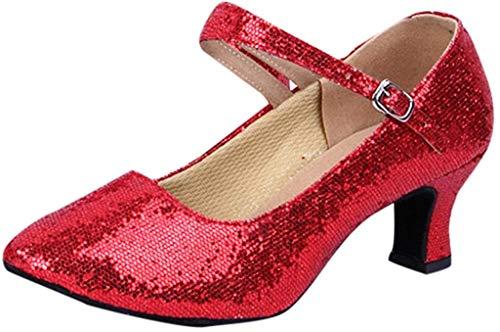 Deloito Damen Mid-High Heels modern Glitzer-Pailletten Tanzschuhe Ballsaal PU weicher Boden Latein Tango Flach Tanzen Schuhe (Rot,38 EU)