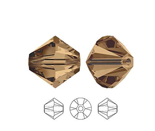 100pcs Authentic 3mm Small Swarovski Crystals 5328 Xillion Bicone Crystal Beads for Jewelry Craft Making (Smoked Topaz) SWA-b351
