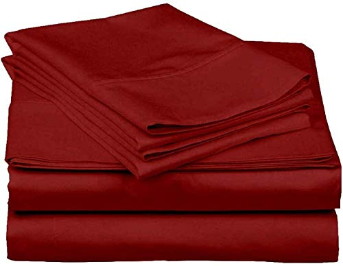 4 Piece Bed Sheets Set, 100% Egyptian Cotton 400 Thread Count, Hotel Luxury Bed Sheets - Extra Soft -38 CM Deep Pocket of Fitted Sheet, Burgundy Solid, UK King Size